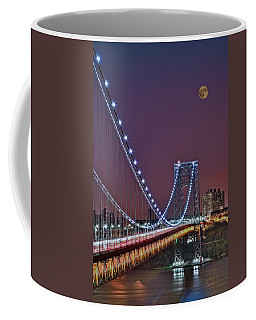 Moon Rise Over The George Washington Bridge Coffee Mug by Susan Candelario