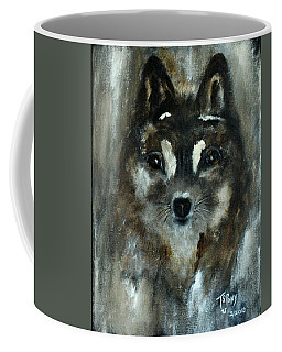 Coffee Mug featuring the painting Moon Shadow The Baby Fox by Barbie Batson