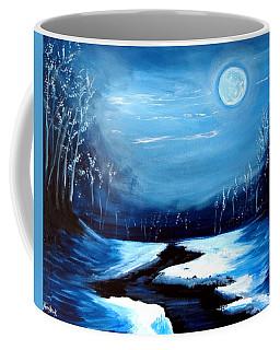 Moon Snow Trees River Winter Coffee Mug