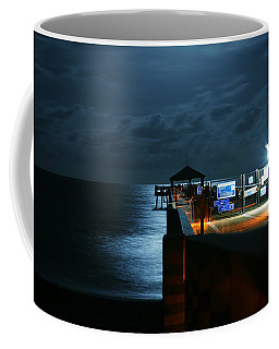 Coffee Mug featuring the photograph Moonlit Pier by Laura Fasulo