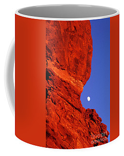 Coffee Mug featuring the photograph Moonrise Balanced Rock Arches National Park Utah by Dave Welling