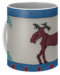 Coffee Mug featuring the sculpture Moose Coming Home For Christmas by Robert Margetts