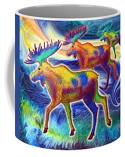 Coffee Mug featuring the mixed media Moose Mystique by Teresa Ascone