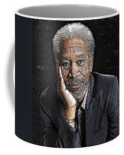 Coffee Mug featuring the painting Morgan Freeman  by Georgeta Blanaru