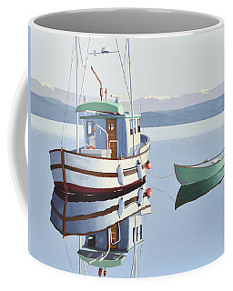 Coffee Mug featuring the painting Morning Calm-fishing Boat With Skiff by Gary Giacomelli