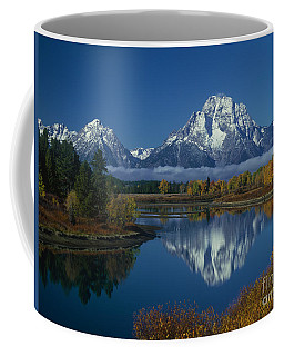 Morning Cloud Layer Oxbow Bend In Fall Grand Tetons National Park Wyoming Coffee Mug