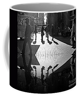 Coffee Mug featuring the photograph Morning Coffee Line On The Streets Of New York City by Lilliana Mendez