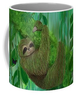 Coffee Mug featuring the painting Mossy Three Toed Sloth by Nick Gustafson