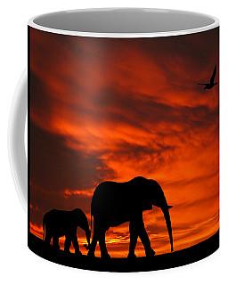 Mother And Baby Elephants Sunset Silhouette Series Coffee Mug
