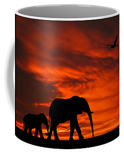 Mother And Baby Elephants Sunset Silhouette Series Coffee Mug
