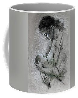 Coffee Mug featuring the drawing Mother And Baby by Viola El