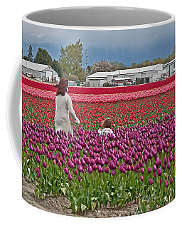 Coffee Mug featuring the photograph People In Tulip Fields Art Prints by Valerie Garner