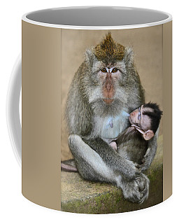 Mother Macaque And Her Baby Coffee Mug