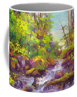 Coffee Mug featuring the painting Mother's Day Oasis - Woodland River by Talya Johnson