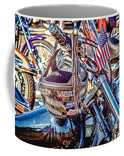 Coffee Mug featuring the photograph Motorcycle Helmet And Flag by Eleanor Abramson