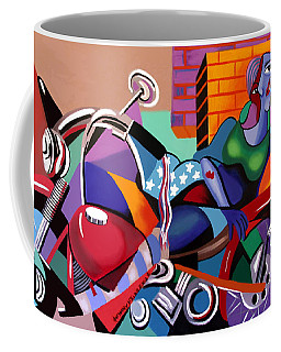 Coffee Mug featuring the painting Motorcycle Mama by Anthony Falbo