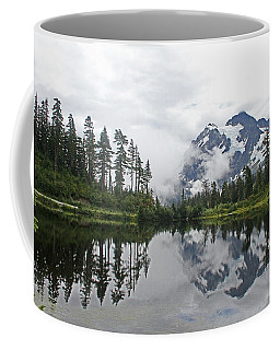 Mount Baker- Lake- Fir Trees And  Fog Coffee Mug