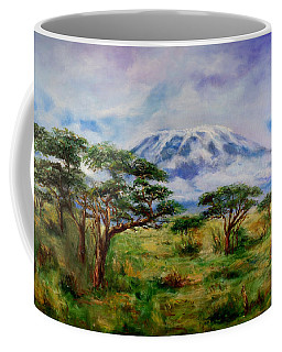 Coffee Mug featuring the painting Mount Kilimanjaro Tanzania by Sher Nasser