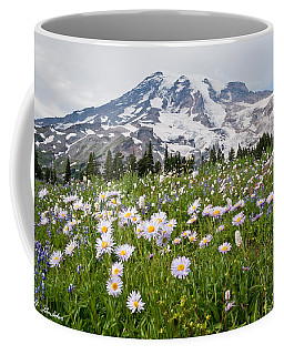 Mount Rainier And A Meadow Of Aster Coffee Mug by Jeff Goulden