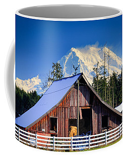 Mount Rainier And Barn Coffee Mug