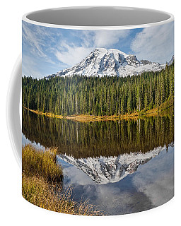 Mount Rainier And Reflection Lakes In The Fall Coffee Mug by Jeff Goulden