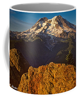 Mount Rainier At Sunset With Big Boulders In Foreground Coffee Mug by Jeff Goulden