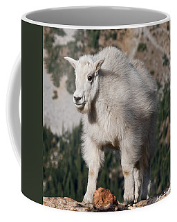 Mountain Goat Kid Standing On A Boulder Coffee Mug