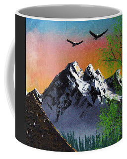 Mountain Lake Cabin W Eagles Coffee Mug