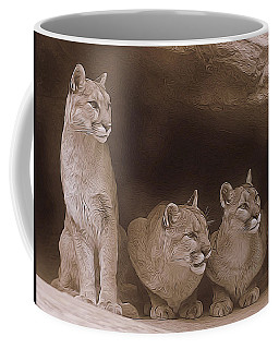 Mountain Lion Trio On Alert Coffee Mug