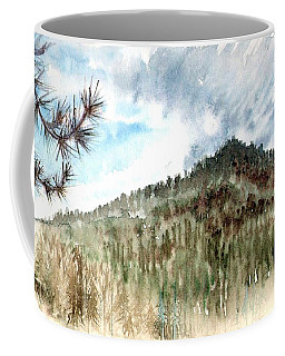 Coffee Mug featuring the painting Mountain Rain by Ashley Kujan