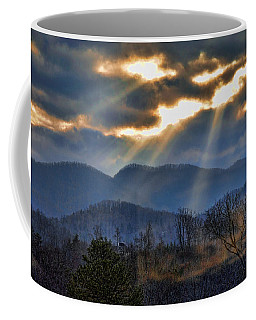 Coffee Mug featuring the photograph Mountain Sunburst by Kenny Francis