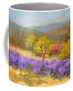 Coffee Mug featuring the painting Mountainside Lavender   by Talya Johnson