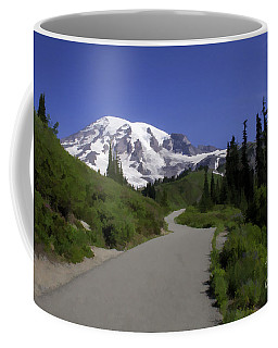 Mt Rainier Painted Coffee Mug