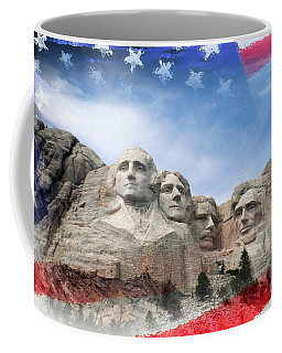 Mt Rushmore Flag Frame Coffee Mug by David Lawson