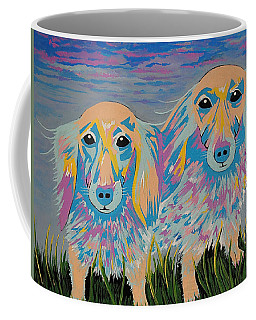 Mugi And Tatami - Contemporary Dachshunds Dog Art Coffee Mug