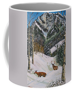 Mule Deer In Winter Coffee Mug