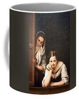 Murillo's Two Women At A Window Coffee Mug by Cora Wandel