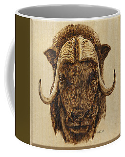 Coffee Mug featuring the pyrography Muskox by Ron Haist