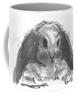 Coffee Mug featuring the drawing My Baby Bunny by Laurie Lundquist