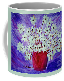 Coffee Mug featuring the painting My Daisies Blue Version by Ramona Matei