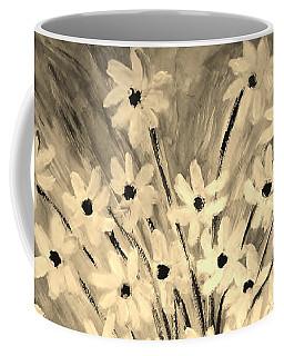 Coffee Mug featuring the painting My Daisies Sepia Version by Ramona Matei