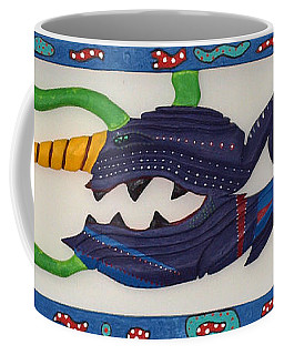 Coffee Mug featuring the sculpture My First Fish Dinner by Robert Margetts