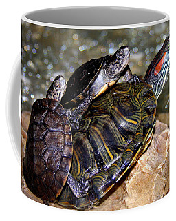 Coffee Mug featuring the painting My Three Turtles by Jennifer Muller