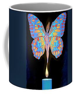 Coffee Mug featuring the painting Naked Butterfly Lady Transformation by Sue Halstenberg