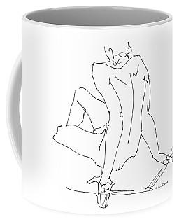 Coffee Mug featuring the drawing Naked-men-art-15 by Gordon Punt