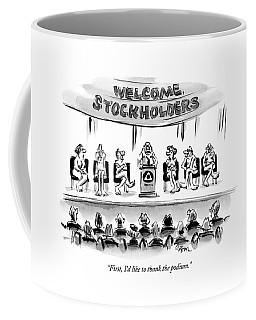 Naked Speakers On Stage At Stockholders Meeting Coffee Mug