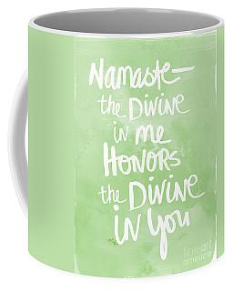 Namaste Green And White Coffee Mug