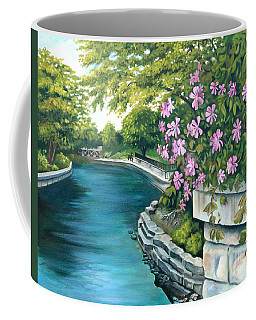 Coffee Mug featuring the painting Naperville Riverwalk by Debbie Hart