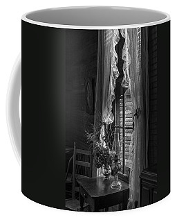 Native Flowers In Vase And Ruffled Curtains Coffee Mug