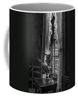 Native Flowers In Vase And Ruffled Curtains Coffee Mug by Lynn Palmer